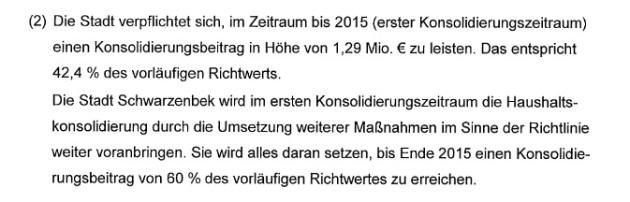 """Wozu wir genau verpflichtet sind, wäre auch noch einmal zu prüfen, eventuell sind die """"anerkannten"""" 42,4% ja bereits ausreichend? (Auszug aus dem Konsolidierungsvertrag zwischen dem Land Schleswig-Holstein und der Stadt Schwarzenbek vom 22.01.2013)"""